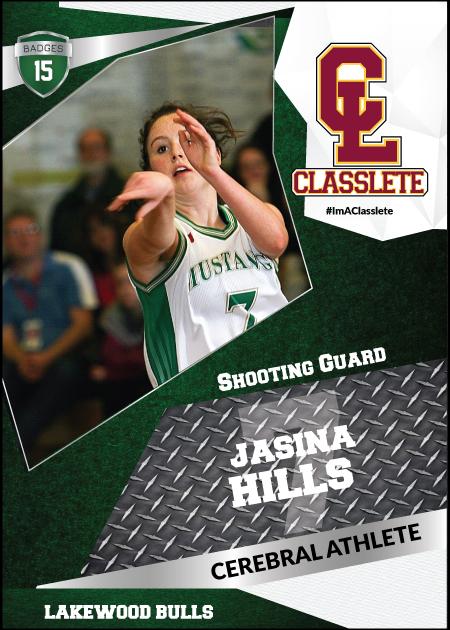 Transformer Dark Green Classlete Sports Card Front Female White Basketball Player