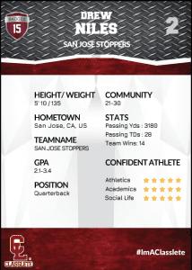 Transformer Dark Red Classlete Sports Card Back Male Football Quarterback