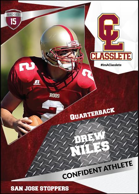 Transformer Dark Red Classlete Sports Card Front Male Football Quarterback
