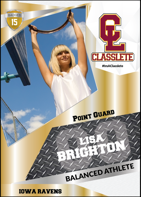 Transformer Gold Classlete Sports Card Front Female Basketball Player