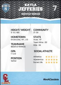 Transformer Light Blue Classlete Sports Card Back Female Volleyball Player