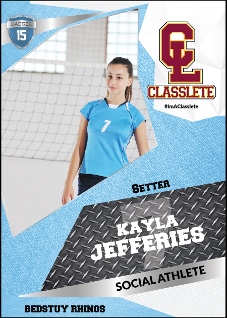 Transformer Light Blue Sports Card Front Female Volleyball Player
