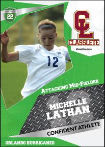 Transformer Light Green Classlete Sports Card Front Female Soccer Player