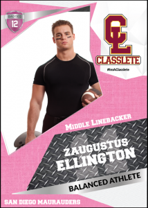 Transformer Pink Classlete Sports Card Front Male Football Player
