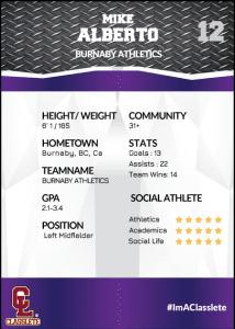 Transformer Purple Classlete Sports Card Back Male Soccer Player