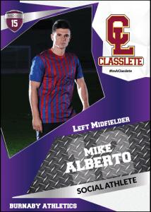 Transformer Purple Classlete Sports Card Front Male Soccer Player
