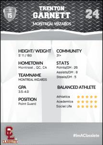 Transformer Silver Classlete Sports Card Back Male Black Basketball Player